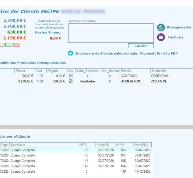 Ficha de Pagos del Paciente Programa de gestión